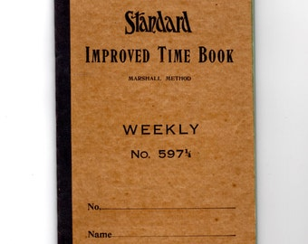 Vintage Standard Improved Time Book  - Mixed Media, Altered Art, Collage, Scrapbooking, Assemblage Supplies