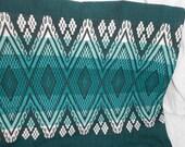 98 Inch Vintage Shamrock Green Embroidered Table Runner - Retro Modern Table Runner - St. Patricks Day Table Runner- Ready to Ship