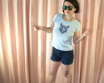 Baby Blue Embroidered Super Mom Tee, 70s