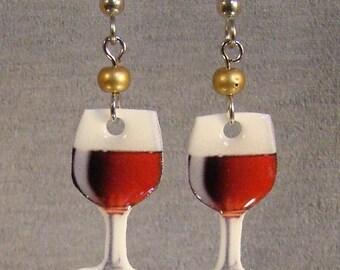 Wine Glass Dangle Earrings - Red Wine - Bartender Jewelry