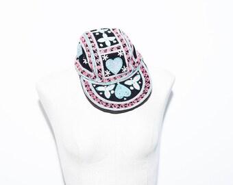 Vintage Ethnic Embroidered Hat, Elephant Biker Cap