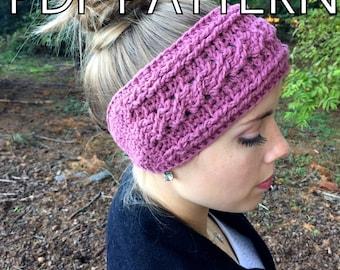 Cable Crochet PDF PATTERN for Headband headwrap earwarmer and flower