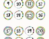 """Stickers; Doodled Circle Dates; 11/16""""; Doodle Frame; 32 count"""