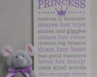 A True PRINCESS Wall Sign - Princess Decor Art - Painted Wood Sign - Purple & Gray - Baby Girl Nursery - Princess Rules - Subway Art Wall