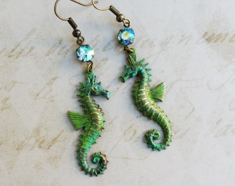 Seahorse Earrings, Seahorse Charm Earrings, Seahorse Jewelry