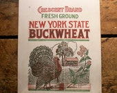 Vintage Crescent Brand Paper Buckwheat Sack with Thanksgiving Turkey - Great Fall Decor!