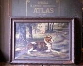 Antique Framed Original Dog Painting - St Bernard - Unsigned