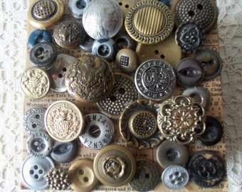 Antique Button Box - Home Decor, Display, Collectible, Vintage Glamour, Gift Idea