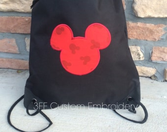 2 Pocket Canvas Drawstring Backpack Personalized Embroidered  MICKEY Tote Lot of Colors