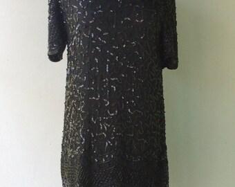 1980s Black SEQUIN Drop Waist Party Dress // Sm - Med