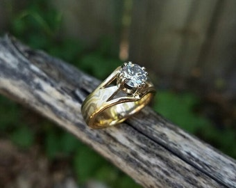 Custom 18K yellow Gold, 14k white gold and Sterling Handcrafted Mokume Gane Ring