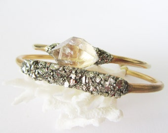 Bohemian Jewelry// Boho Cuff Bracelet // Raw Crystal and Pyrite Minerals