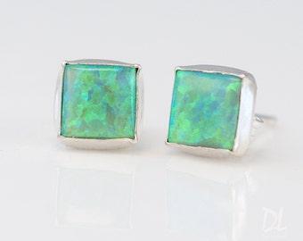Green Opal Stud Earrings - Opal Earrings - October Birthstone Studs - Gemstone Studs - Sterling Silver Studs - Tiny Dainty Earrings