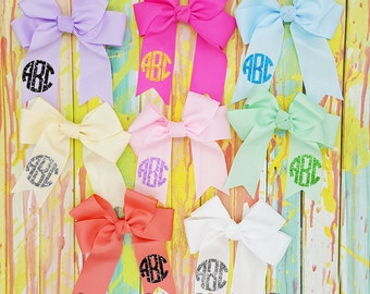 """8"""" Pastel Bow -  Glitter Monogram Bow - Cheer Bow -  Pastel Hair Bow - 8"""" Bow - Mix & Match Colors - Ready To Ship - Grosgrain Bow"""