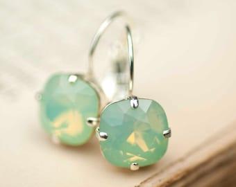 Mint Green Opal Earrings Silver Estate Style Vintage Earrings Mint Wedding Jewelry Earrings Bridal Earrings Bridesmaids Gift Dangle Earrings