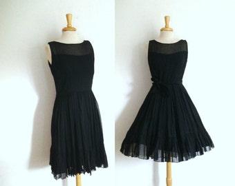 1950s black chiffon party dress size medium or large