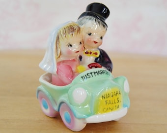Vintage 1950's 'Just Married' Salt and Pepper Shakers with Couple in Car by Lefton