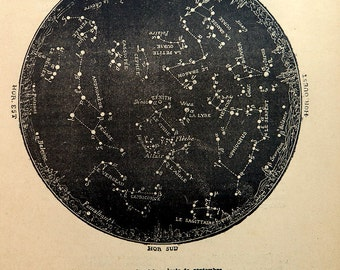 1882 antique astronomy constellation print, sky chart engraving of Northern Hemisphere, vintage star map of Semptember.