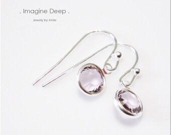 Light Purple Crystal Earrings Sterling Silver Light Amethyst -like Swarovski Crystal Dangle Earrings - 30% off SPECIAL