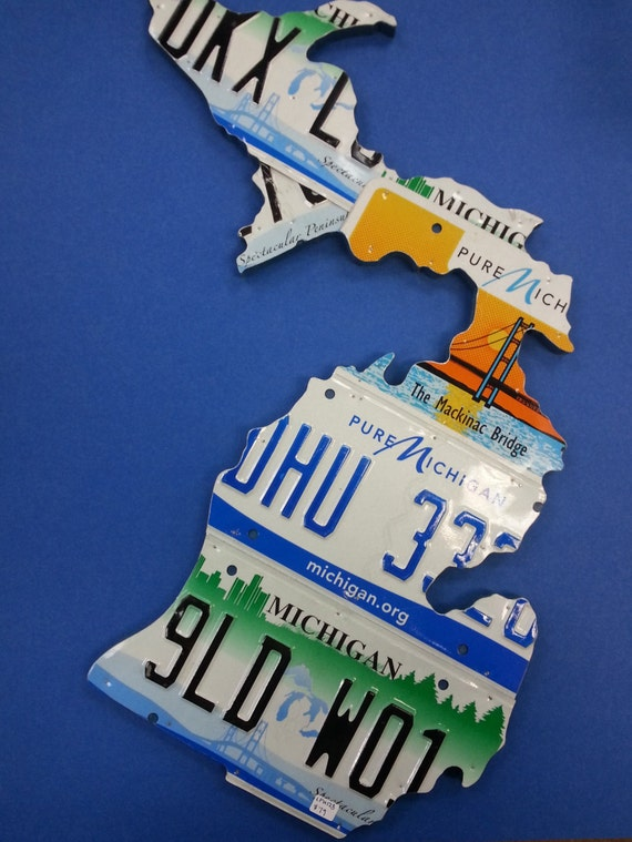 State of Michigan Map handcrafted recycled License Plates, Unique Gift, State of Michigan Decor - Made in Michigan Art - Michigan Love