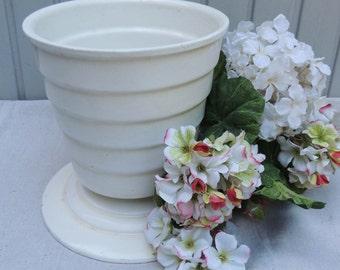 Art Deco White Enamel Urn /Vintage French Urn / French Enamel Urn / White Enamel Urn / Antique French Urn / White Iron Flower Pot /White Urn