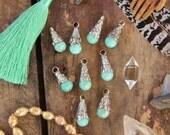 Amazonite Tears & White Brass Pendant, Handmade, Boho Gypsy Jewelry Making Supplies, Charm, 1 pendant 10x26mm, Pastel Aqua Spring Jewelry