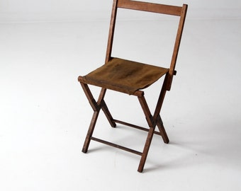 FREE SHIP vintage camp stool, wood folding chair