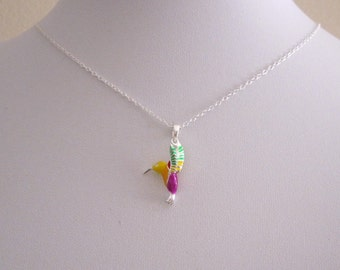 Colorful enamel 3d HUMMINGBIRD sterling silver pendanty with chain, kids, girls necklace