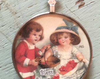 Vintage Handcrafted Pendant Bless your heart children