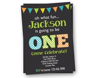 Birthday Invitation, First Birthday Invitation, Boy Birthday Invitation, modern invitation