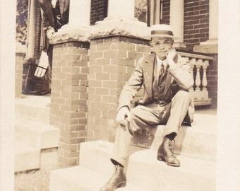 Creepy Neighbor Photo Bomb- 1910s Antique Photograph- Edwardian Boy- Front Porch- Real Photo Postcard- AZO RPPC- Paper Ephemera