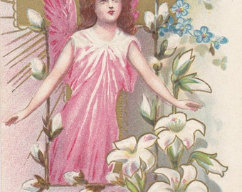 Joyful Easter Angel- 1910s Antique Postcard- Easter Lily, Forget-Me-Nots, Pussy Willows- L R Conwell- Edwardian Easter Decor- Paper Ephemera