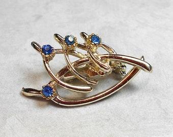 Vintage Brooch, Wishbone Brooch, Wishbone Pin, Rhinestone Brooch, Rhinestone Pin, Blue Rhinestone, Light Gold Tone, Wish Bone, Mid Century