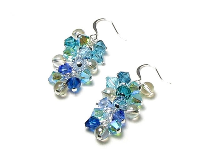 Summer Beach Swarovski Crystal Cluster Silver Earrings Mermaid Jewelry Aqua Blue Teal Green Sea Waves Sand Surf Bubbles Gift For Ocean Lover