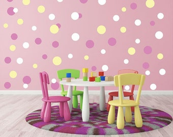 Mini Circle decals, Mini Polka Dot Decals, Bubbles wall decals, Tiny dot decals, Small circles decals, Circus Wall Decals