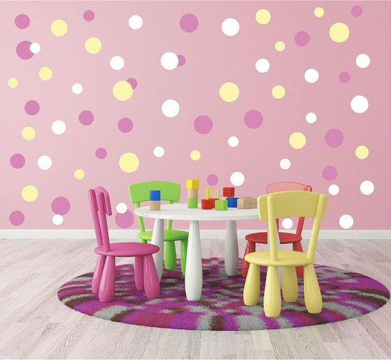 Mini Circle decals, Mini Polka Dot Decals, Bubbles wall decals, Tiny dot decals, Small circles decals, Circus Wall Decals