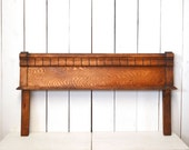Antique Wood Headboard Furniture Salvage Early 1900s Carved Twin Bed Vintage Wall Hanging Installation