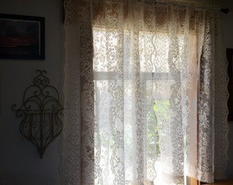 "Lace Window Curtains Vintage 1970s Sheer Floral Lace Curtain Panel Set 48"" Wide x 52.5"" Long"