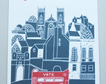 York LARGE Linocut Print - Limited Edition - UK - York Bus Tour - Printmaking - Grey and Red Yorkshire Original Print by Giuliana Lazzerini