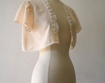 1910's Titanic Silk Lace Blush Bolero Bed Jacket Shrug Lingerie ~ Size S / M