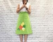 Vintage 70s Wrap Skirt XS S Reversible Green Polka Dot Fruit Patch A-Line Knee Length