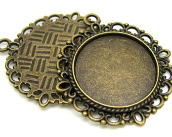 Cabochon Setting | Bezel : 10 Antique Bronze 20mm Cabochon Settings | Bronze Pendant Settings  -- Lead & Cadmium Free 15290-1. H2A