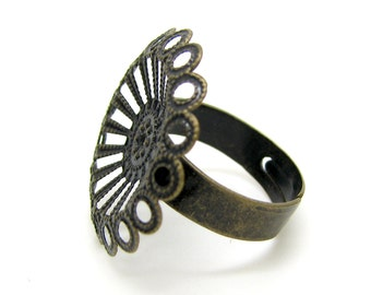 Ring Blank :  1 piece Antique Bronze Adjustable DIY Filigree Ring Component (25mm diameter) 028-F7