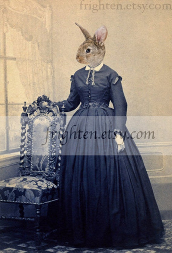 Rabbit Art Print, Anthropomorphic, Animal in Dress, Victorian Woman, Easter Decor, 5x7 Print, Animal in Clothes, Small Wall Art