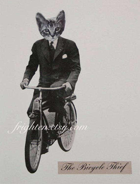 Cat Art Print, Paper Collage Print, Cat on Bicycle, Cat in Clothes Art, Minimal Art, Cat in Suit, Retro Art, Anthropomorphic