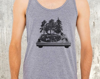 Men's Tank Top - Vinyl Record Forest - American Apparel Men's TriBlend Tank Top - All Sizes Available