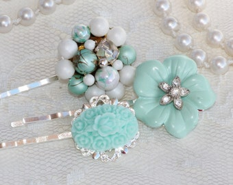 Vintage Mint Green Jeweled Bridal Bobby Pins,Set of THREE,Silver Mint Pearl Rhinestone Hair Pins,Upcycled Repurposed Earrings Brooches,Trio
