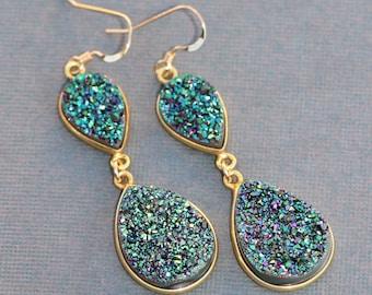 Genuine Teal Blue Green Rainbow Druzy Gemstone Earring,Druzy Chandelier Earring,14K Gold Bezel Drusy Drop Earring,Geode,Natural Crystal,Long