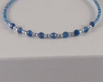 6.75 Inch Minimalist Bracelet - Blue Gemstone Layering Bracelet - Stackable Bracelet - Friendship - Trendy Boho - Tiny Bead Bracelet