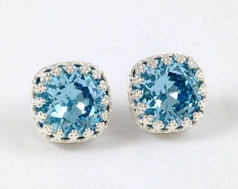 Aquamarine Earrings // Light Blue Stud Earrings // 12mm Swarovski Crystal Cushion Earrings // March Birthstone Silver Stud Earrings